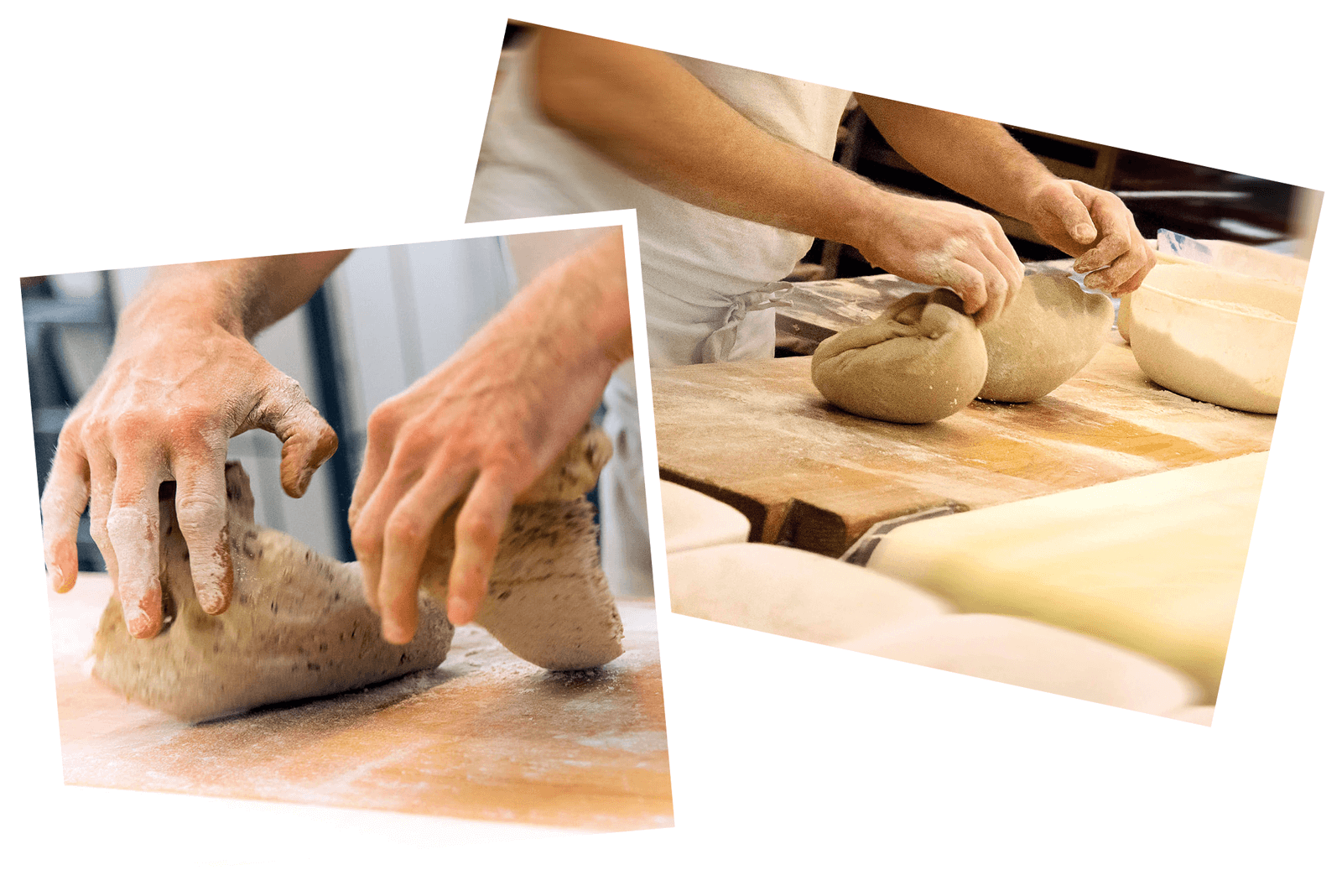 Bäcker knetet Mehl