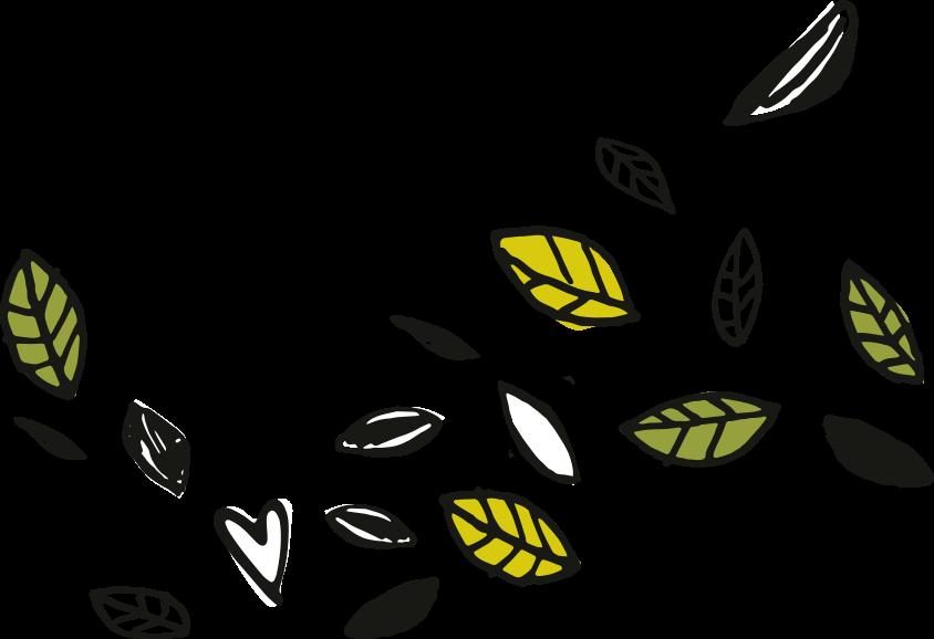 Illustrierte Blätter im Wind