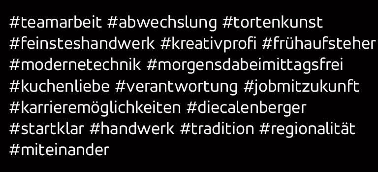Hashtags zum Thema Konditorei