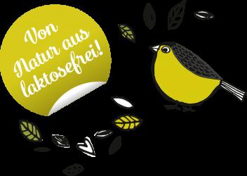 Von Natur aus laktosefrei mit illustriertem Vogel und Blättern